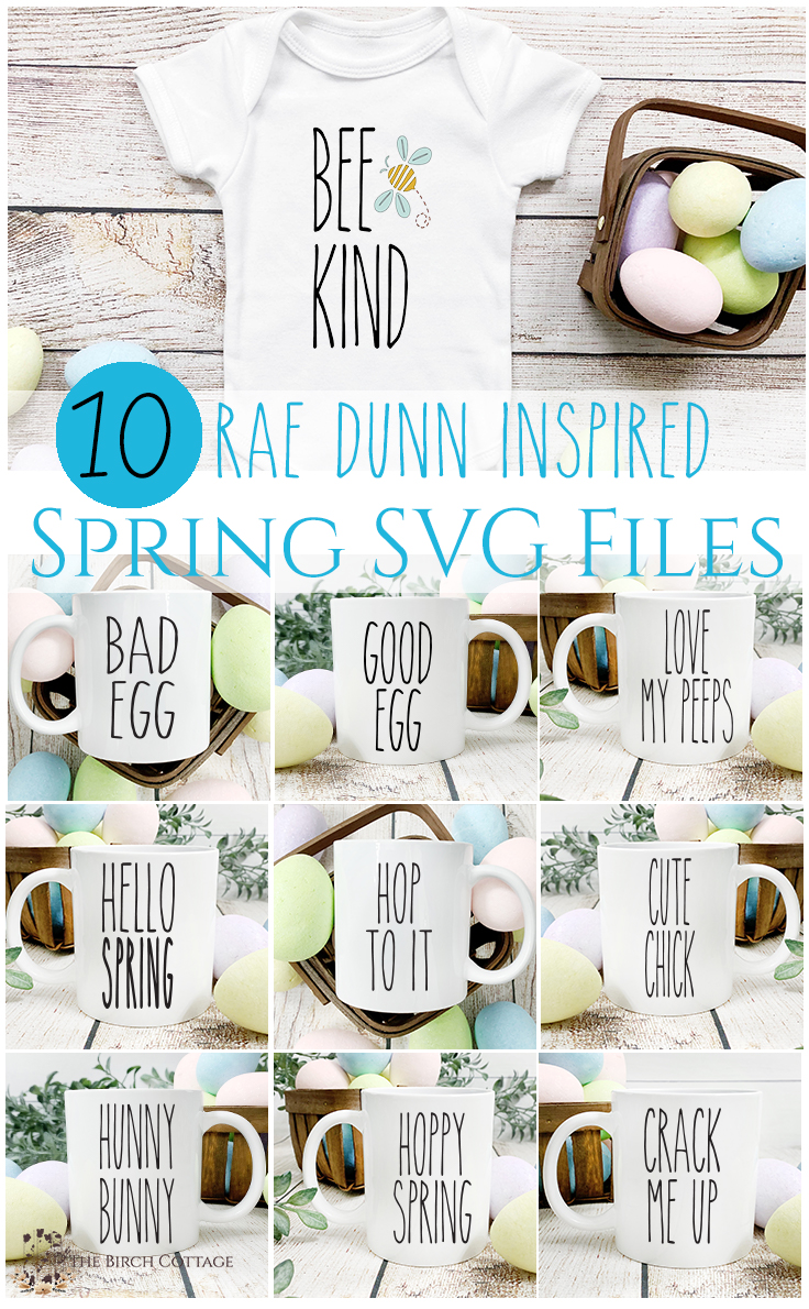 Download this free set of 10 Rae Dunn inspired spring SVG files for use with your Cricut or Silhouette cutting machines.