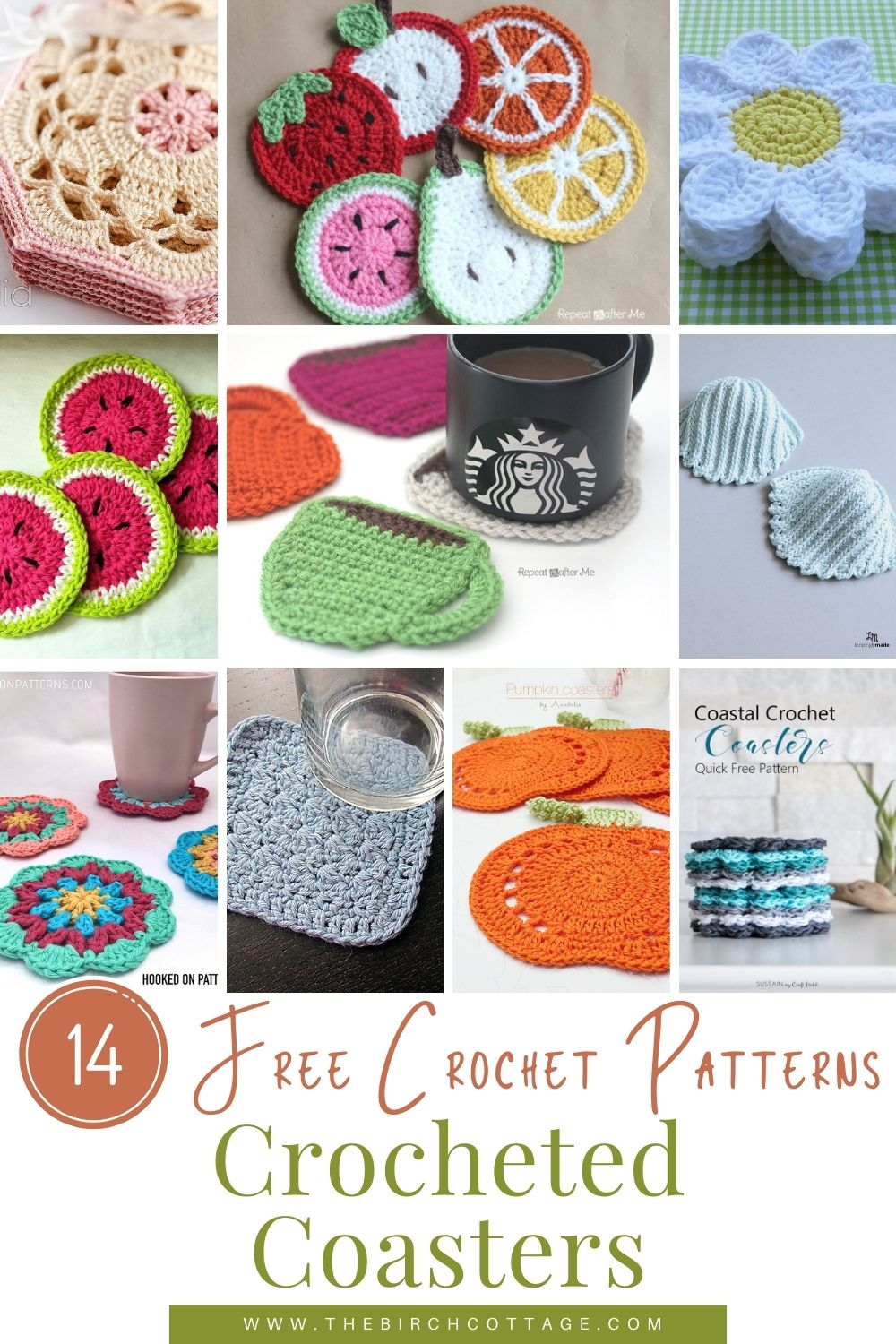 14 crocheted coaster patterns