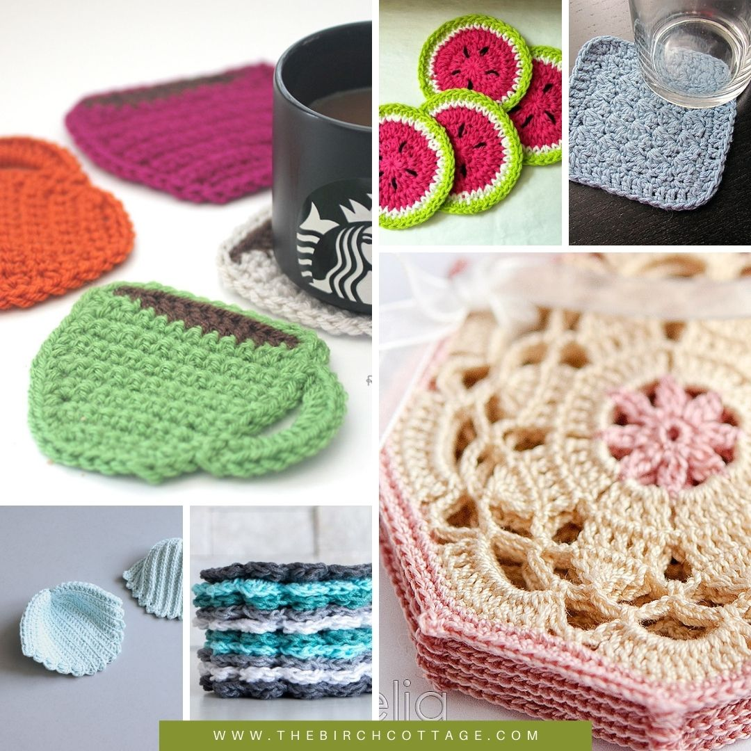 Learn how to crochet with 14 free crochet patterns for crocheted coasters! Coasters are a practical gift that you can crochet in no time!