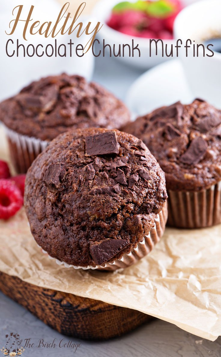 Healthy Chocolate Chunk Muffins are sure to please your family and satisfy your chocolate cravings!