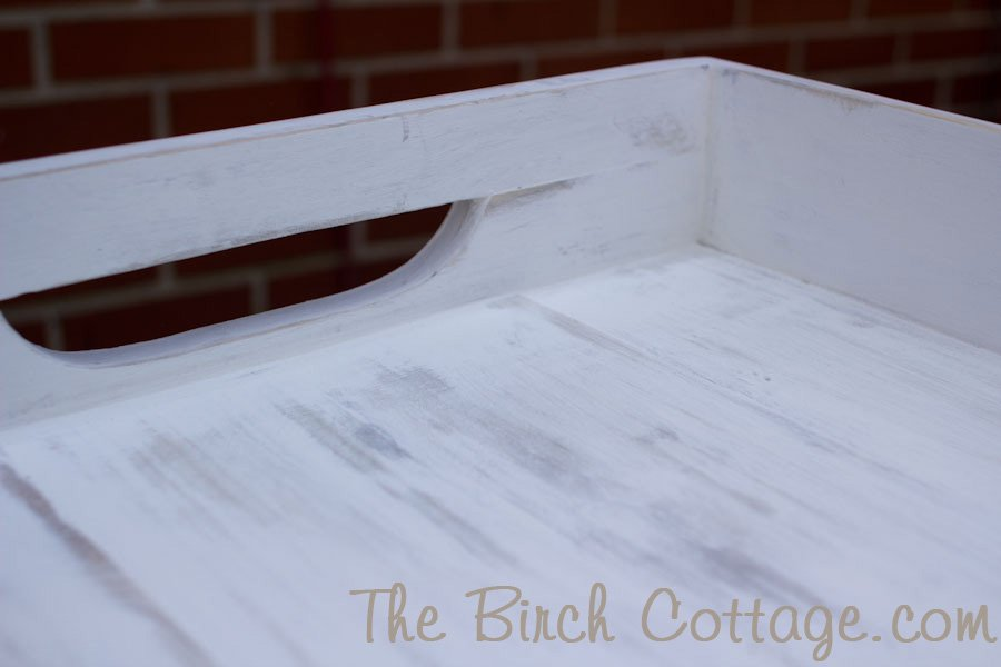 Shabby chic wood tray from reclaimed picket fence
