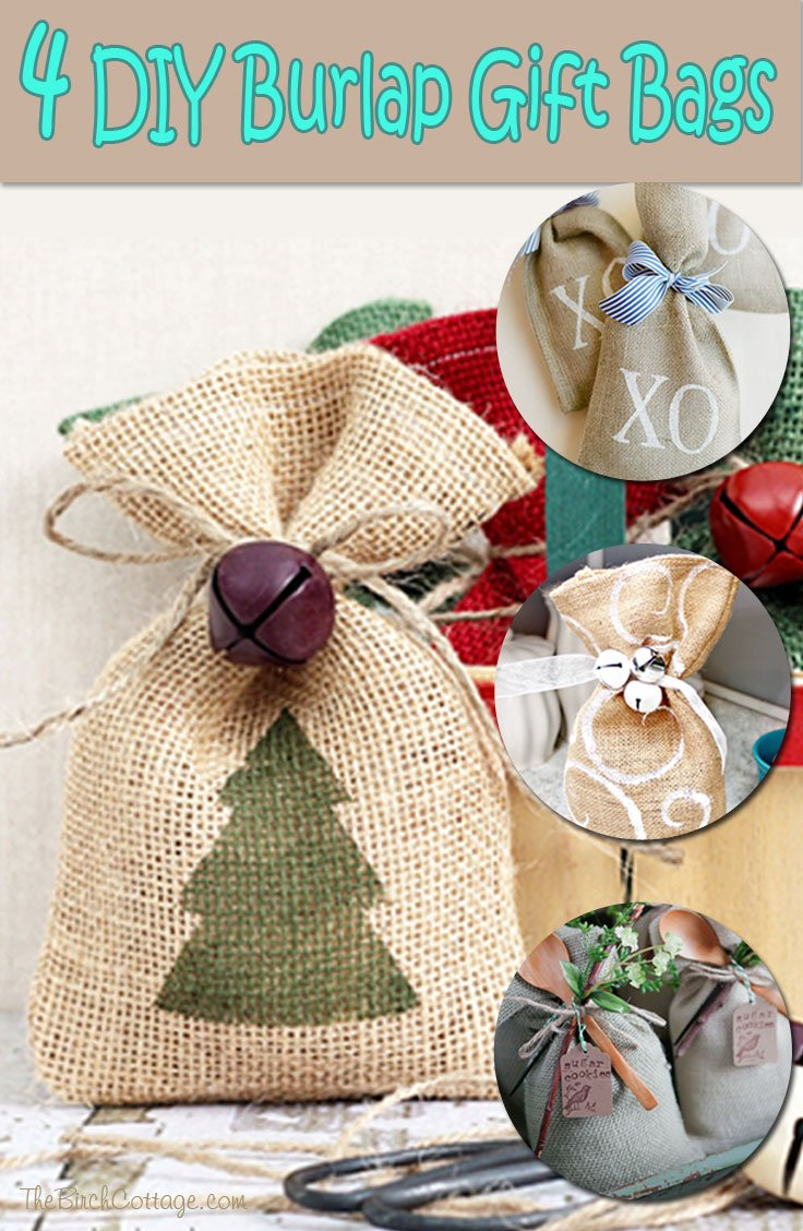 Diy burlap gift bags Burlap bag decorating ideas