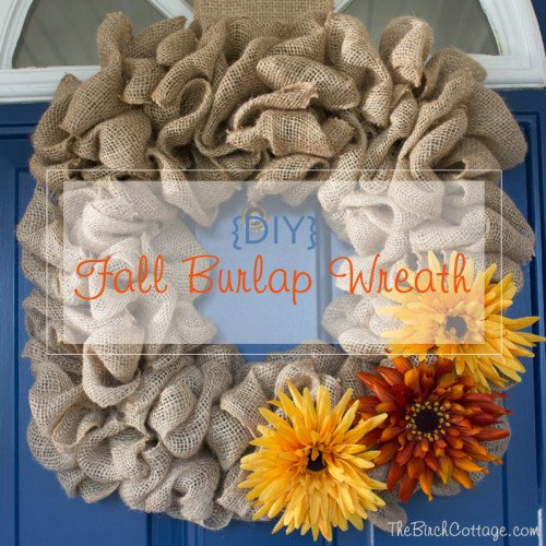DIY Fall Burlap Wreath by The Birch Cottage