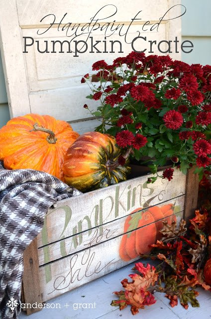 Handpainted Pumpkin Crate by Anderson + Grant as featured on The Birch Cottage