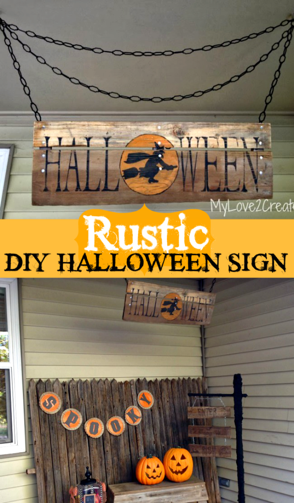 Oh My Creative Rustic DIY Halloween Sign as featured on The Birch Cottage