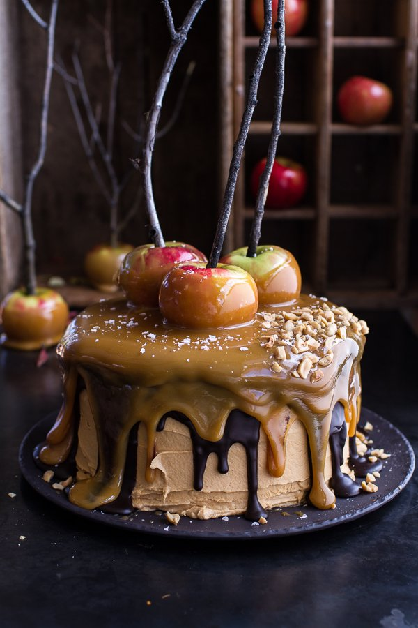 Salted Caramel Apple Snickers Cake from Eat More Chocolate