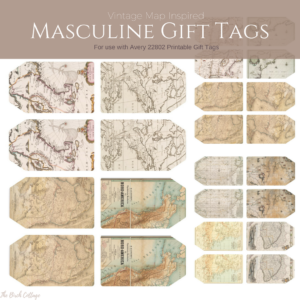 Vintage Map Inspired Masculine Gift Tags from The Birch Cottage. For use with Avery 22802 Printable Tags
