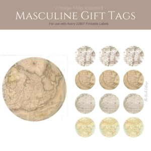 Vintage Map Inspired Masculine Gift Tags from The Birch Cottage. For use with Avery 22807 Printable Labels