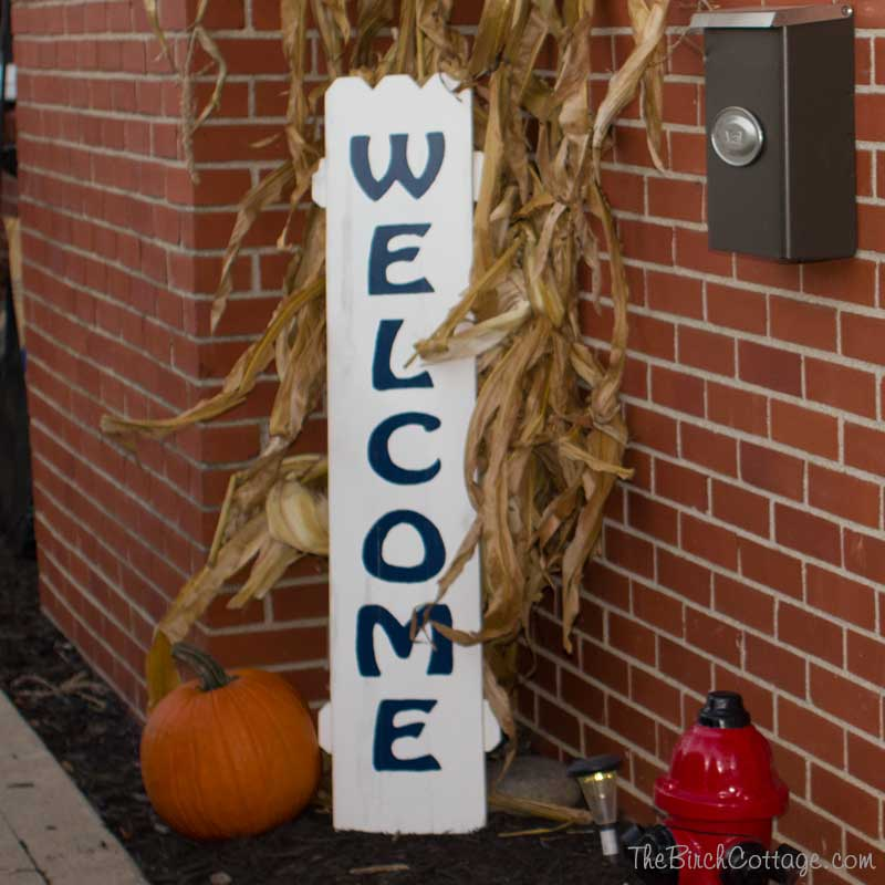 Hand-painted Welcome Sign from Picket Fence by The Birch Cottage