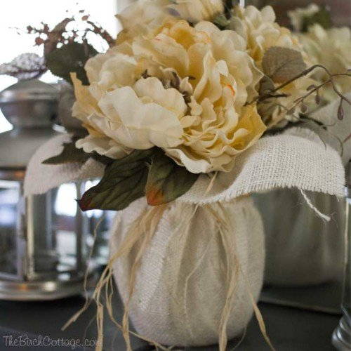 DIY Fall Burlap Floral Centerpiece by The Birch Cottage