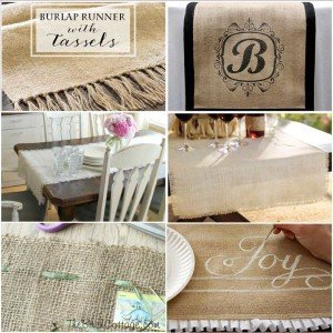 Six simple and some no-sew Burlap Table Runners are perfect for Christmas or anytime!