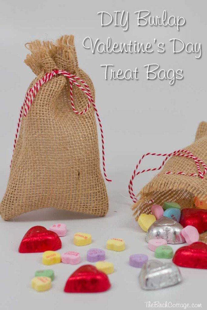 These DIY Burlap Valentine's Day Treat Bags from The Birch Cottage are so easy to make that you'll want to make them from everyone!