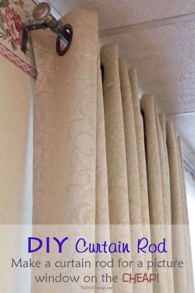 Diy Curtain Rod For A Large Picture Window On The Cheap The Birch