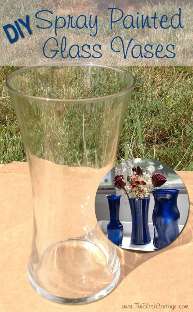 A super easy DIY project for spray painted glass vases ordinary glass vases by The Birch Cottage.