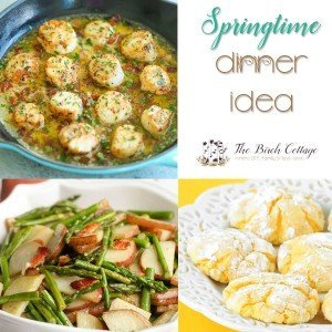 Bacon Scallops, Asparagus and Tater Tots and Easy Lemon Cookies are the perfect Spring dinner idea by The Birch Cottage.