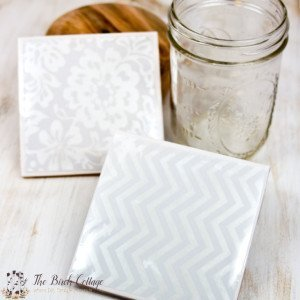 How to make coasters from ceramic tiles by The Birch Cottage