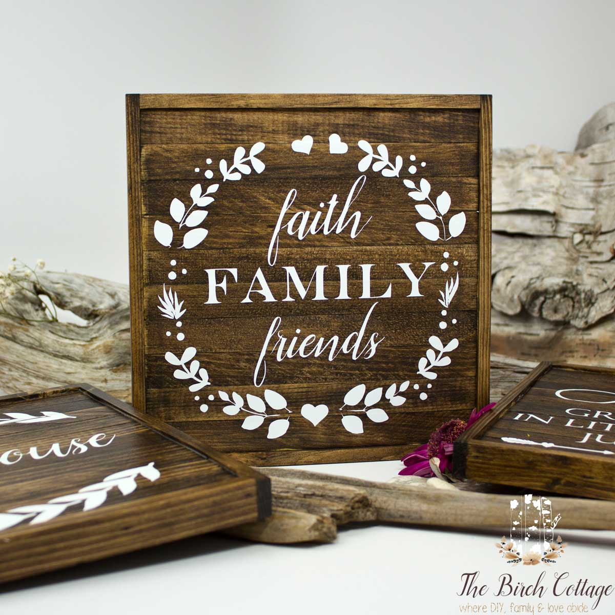 The Birch Cottage Shop is Now Open on Etsy - Faith Family Friends Handmade Rustic Wood Sign