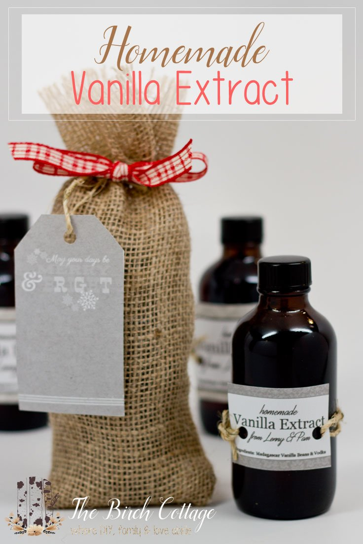 The Birch Cottage shows how to make homemade vanilla extract. Although it takes some time, this homemade vanilla extract makes for a great gift!