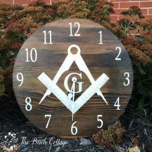 Freemason Wooden Clock from Reclaimed Wood