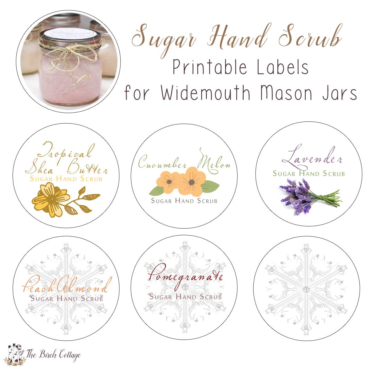 image about Mason Jar Printable Labels named Clean Do-it-yourself Sugar Hand Scrub Printable Labels - The Birch Cottage