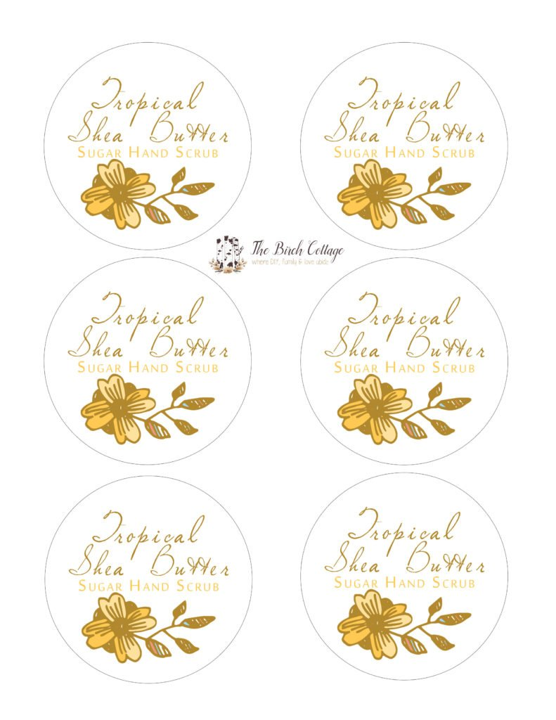 DIY Sugar Hand Scrub Printable Labels for large mouth Mason Jars by The Birch Cottage. Using Dawn Ultra Hand Renewal with Olay Tropical Shea Butter and sugar to make this sugar hand scrub, print labels for the perfect gift!