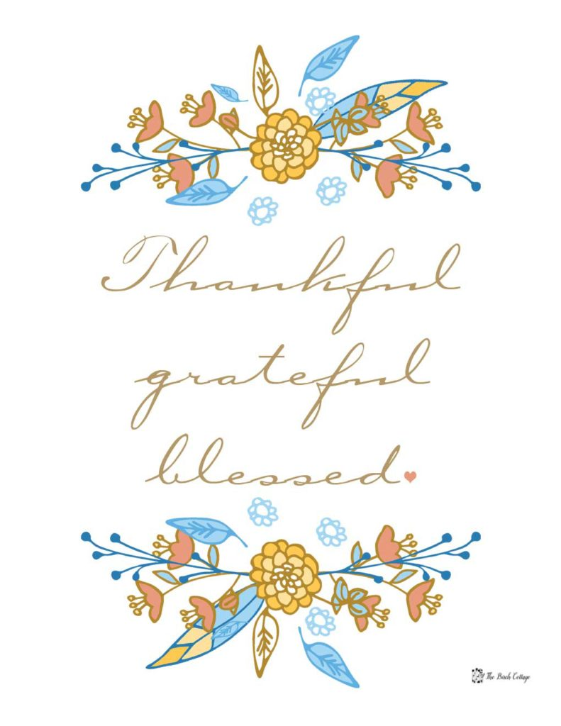 Thanksgiving Print - Thankful Grateful Blessed - by The Birch Cottage