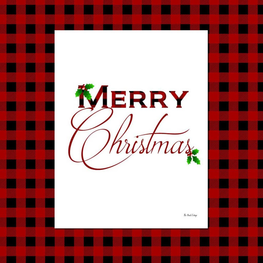 Rustic, whimsical yet classy Plaid Christmas prints are free to download from The Birch Cottage