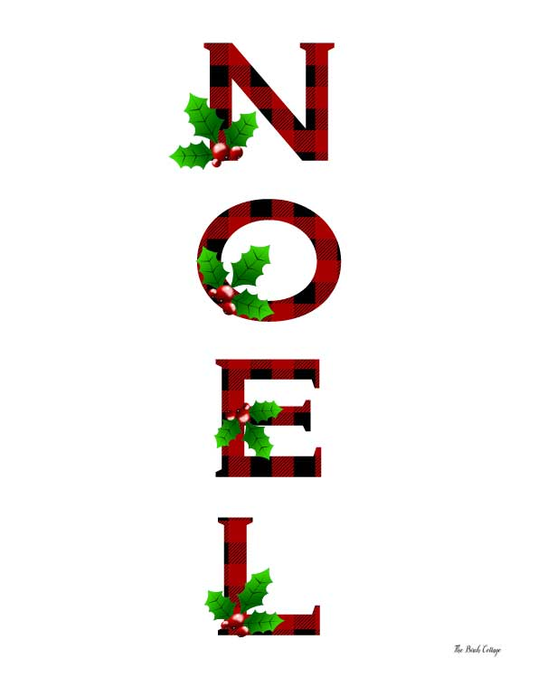Rustic, whimsical yet classy Noel Plaid Christmas prints are free to download from The Birch Cottage