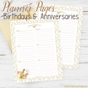 Download your free Birthdays and Anniversaries Planner Pages from The Birch Cottage