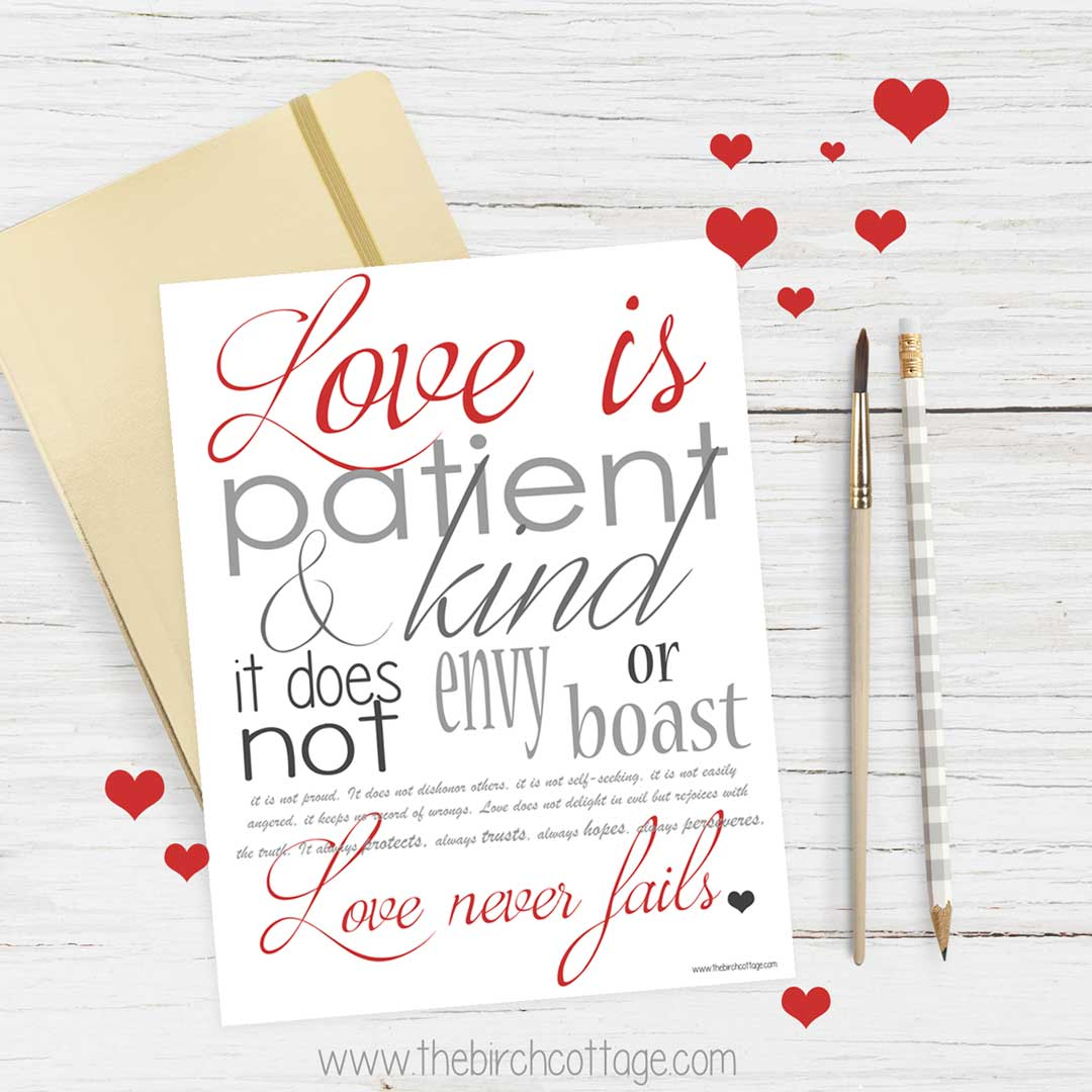 Love Never Fails Print of I Corinthians 13 from The Birch Cottage.