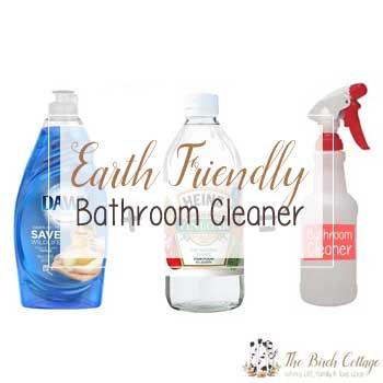 Earth Friendly Bathroom Cleaner using three simple ingredients.