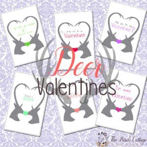 These Deer Valentines are 4x6 and easy to print. Download one or all six designs from The Birch Cottage.