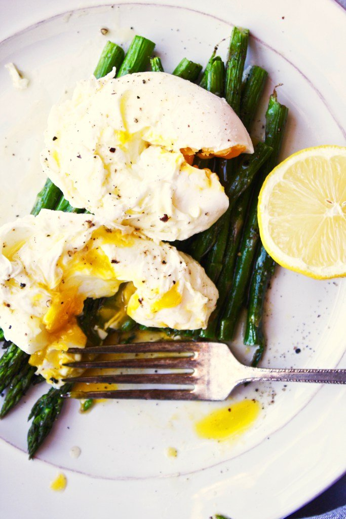 Poached Eggs over Roasted Asparagus