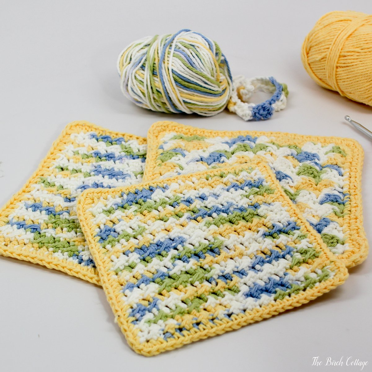 Learn how to crochet! Crochet Crunchy Stitch Dishcloth Pattern from The Birch Cottage