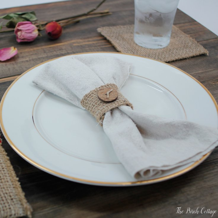 Learn to make these burlap napkin rings from burlap ribbon by The Birch Cottage