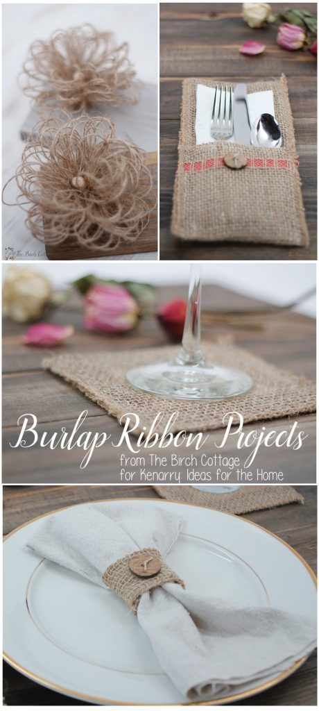Four burlap ribbon projects from The Birch Cottage for Kenarry: Ideas for the Home