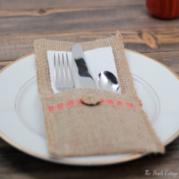 Learn to make these burlap utensil holders from The Birch Cottage using burlap ribbon