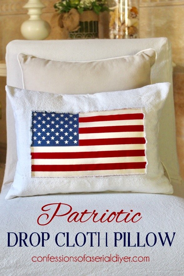 Make this patriotic drop cloth pillow from Confessions of a Serial DIYer.