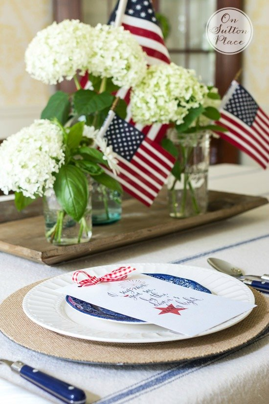 DIY Patriotic Home Decor Ideas featuring this tablescape from On Sutton Place by The Birch Cottage