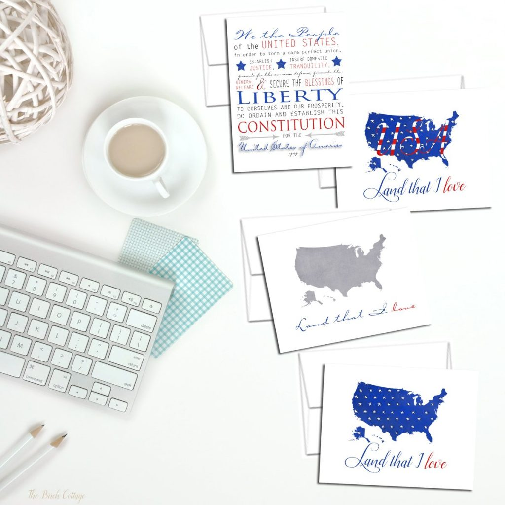 Patriotic Note Cards from The Birch Cottage