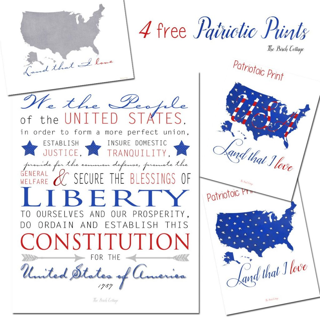 Download four free printable patriotic prints because you can never have enough patriotic prints!