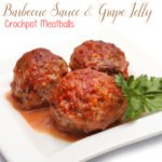 Barbecue Sauce & Grape Jelly Crockpot Meatballs recipe by The Birch Cottage