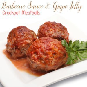 Barbecue Sauce and Grape Jelly Crock Pot Meatballs recipe is easy and a family favorite!