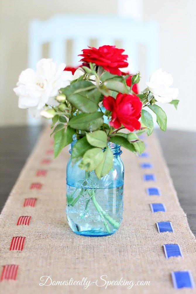 Patriotic Burlap Table Runner from Domestically Speaking as featured on The Birch Cottage blog.