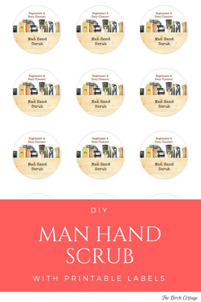 Man Hand Scrub Labels for sugar hand scrub by The Birch Cottage