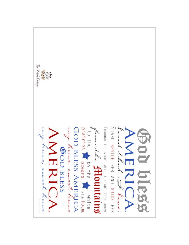 god bless america printable note cards