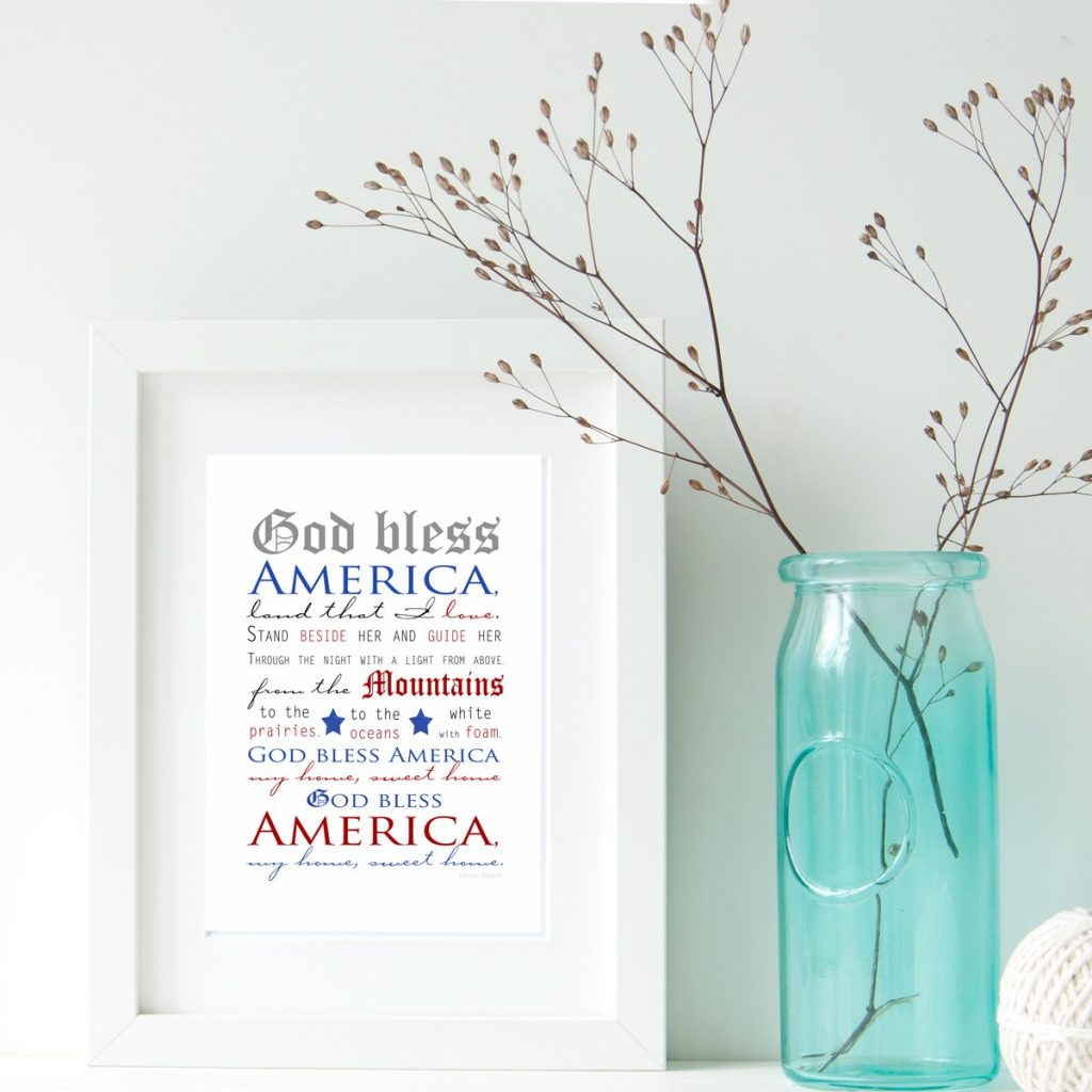 God Bless America Patriotic Print from The Birch Cottage