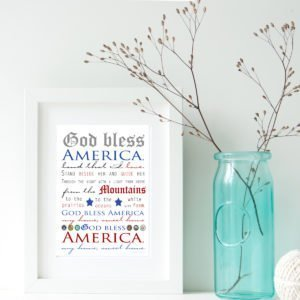 God Bless America Print for Your Home Sweet Home
