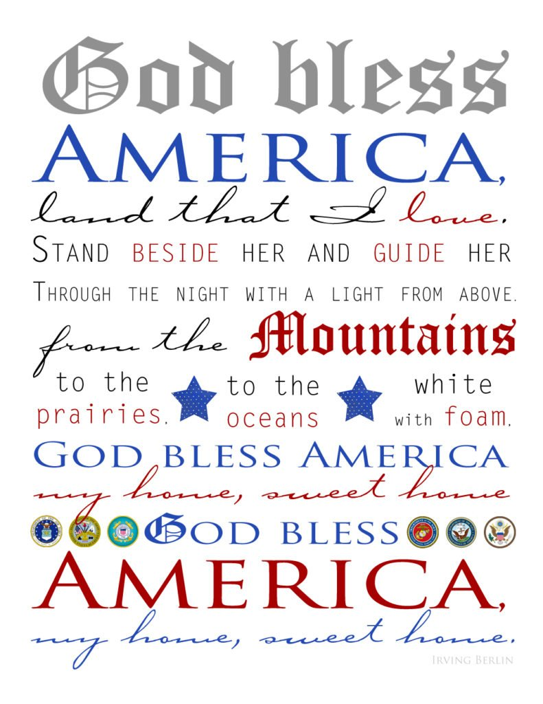 patriotic God Bless America print by The Birch Cottage