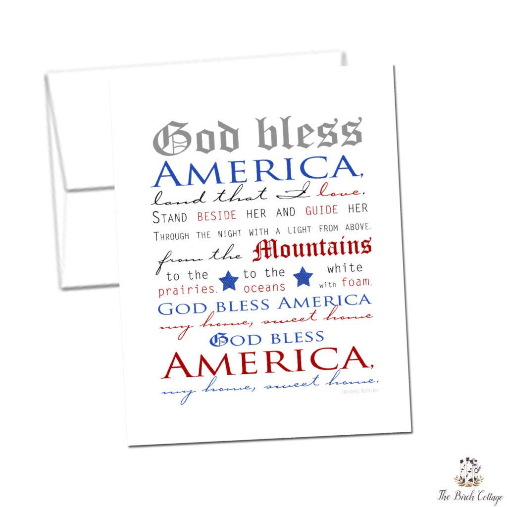 Patriotic Notecard - God Bless America - The Birch Cottage